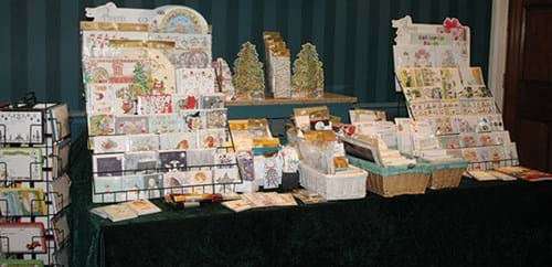 Stall displaying cards