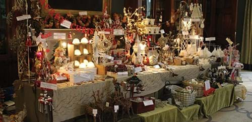 Homewares stall with home decor and Christmas decorations