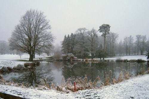 Rudding Park Golf lake in the snow