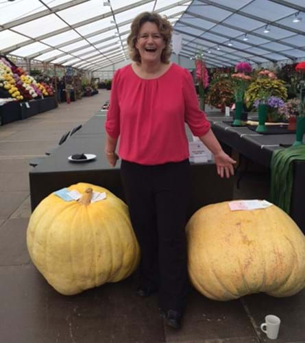 Steph stood between two pumpkins that come past her knees!