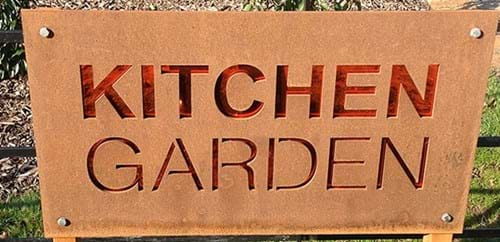 Kitchen Garden sign with rust patina