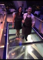 Steph and guest on the glass floor