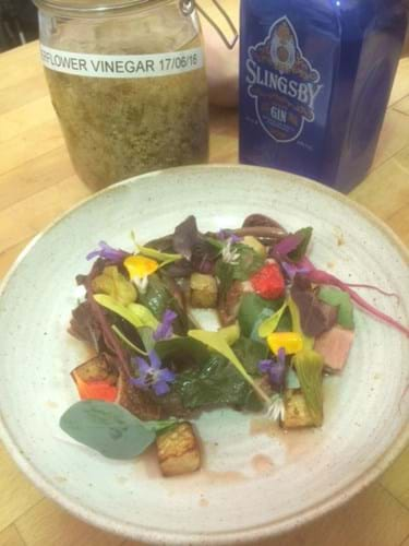 Callum's colourful dish with edible flowers