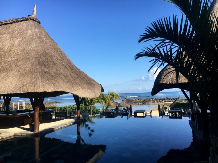 The pool reflects the very blue sky, framed by two thatched seating areas and palm trees.