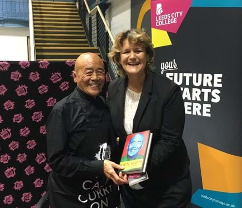 Steph meets Ken Hom, with a copy of his autobiography