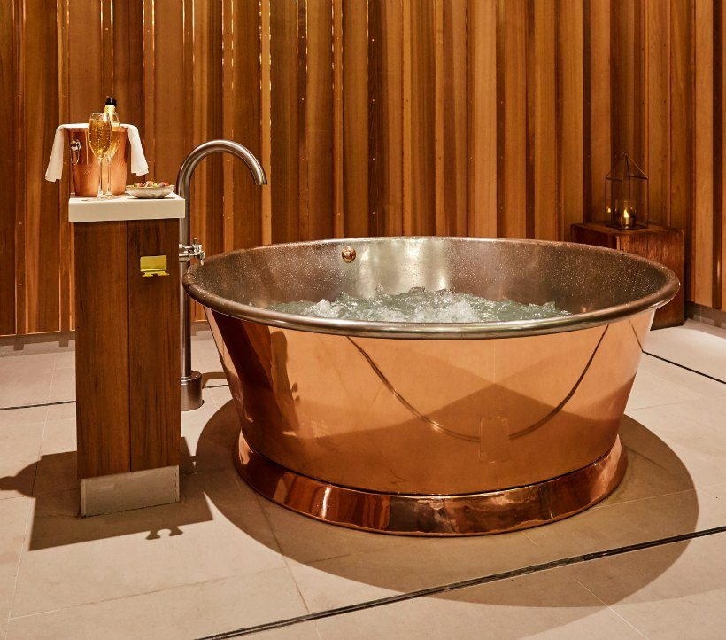 Copper Bath with Champagne and Strawberries