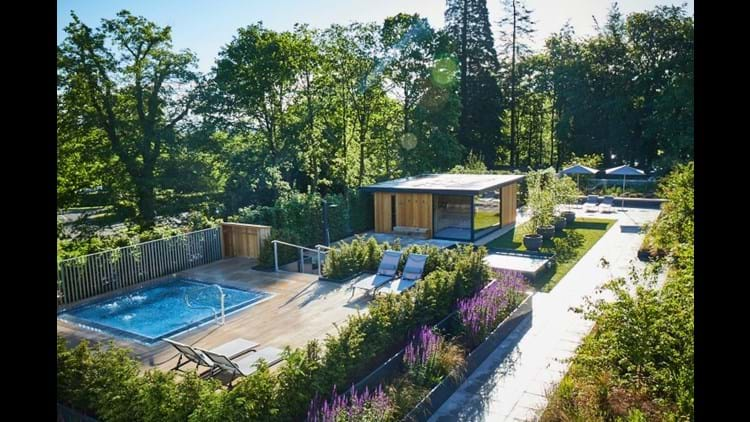 Rudding Park Roof Top Spa, overlooking the spa bath and garden sauna cabin