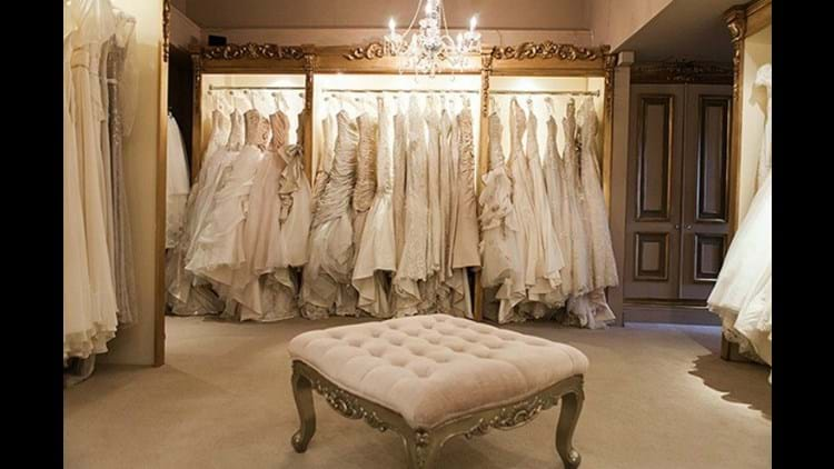 A collection of wedding dresses in a Harrogate Bridal Boutique