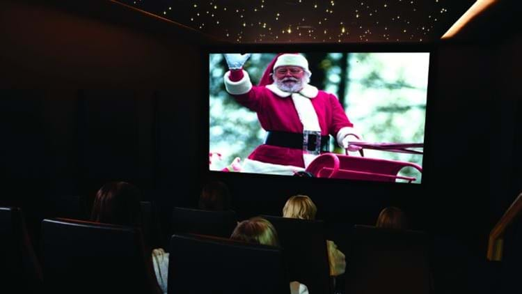 Santa film showing in the Rudding Park private cinema