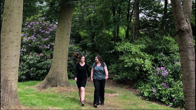 Jess and Giorgina walking in the Rudding Park Woodland