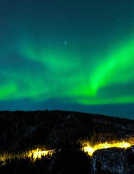 Northern Lights Sky Winter Mountains Forest